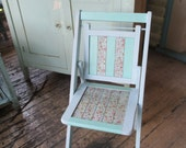 RESERVED Adorable Vintage Oak Folding Chair Repainted Aqua Red Roses and Polka Dots