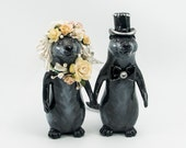Otters wedding topper cake topper bride and groom