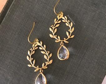 Gold Bridal Earrings, Wedding Jewelry, 14k Gold Filled Laurel Wreath Clear Crystal Dangle Earrings, Elegant Drop Earrings, Bridesmaids Gift