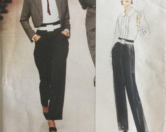Vintage Sewing Pattern Vogue Paris Original 1630 Yves Saint Laurent Jacket, Blouse and Pants ©1996 Size 6-8-10 FF