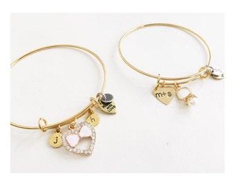 Stainless Steel Bangle Charm Bracelet | Gold