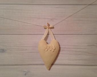 Valentines Day Heart Wedding Decor Bridesmaid Gift Vintage Decor Shabbychic Decor Boho Decor Beige Cream Felt Heart