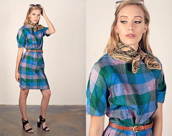 50s Plaid Dress Vintage Green Blue Wiggle Dress