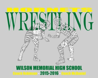 Wrestling... Typography Art, 8x10