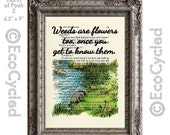 SALE Eeyore Quote Weeds are Flowers Too on Vintage Upcycled Dictionary Art Print Book Art Print Classic Winnie the Pooh Book Lover Art Gift