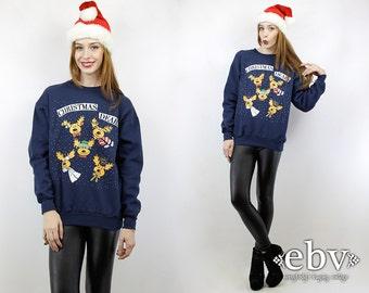 Ugly Christmas Sweater Fugly Christmas Sweater Xmas Sweater Tacky Christmas Sweater Holiday Sweater Vintage Reindeer Sweatshirt S M