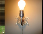Vintage Cut/Pressed Glass Plug In Wall Sconce