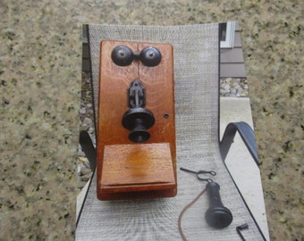 Antique Wood Wall Phone