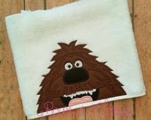 Brown Pet Dog peeker Hooded Towel In the hoop design digital instant download