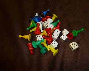 Vintage Game Pieces Large Assorted Lot Great for Supplies