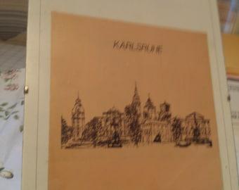REDUCED  Karlsruhe  Clip Back Framed Etching