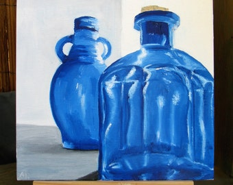 Daily Painting 14 - Blue glass bottles - free shipping