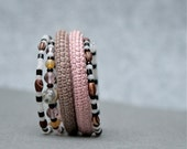 coil crochet bracelet with beads - wrap bracelet - memory wire bracelet