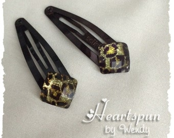 CLEARANCE SALE! 50% OFF!!  Set of 2 Cheeta Hair Clips.
