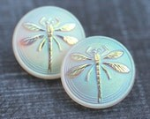 18mm Dragonfly Czech Glass Button, Frosted Rainbow White, Matte Clear, Handmade Button bead, size 8, 1pc - 2610