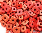 30%OFF SALE Red Chip spacers, Greek ceramic beads - Tile, rust orange, brick red - chips, 5mm - approx.70pc - 0834