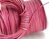 1mm Round Natural Leather cord - Antique Pink, Vintage mixed color - 10 feet, LC020