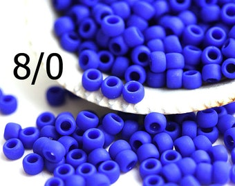 TOHO Seed beads, size 8/0, Opaque Frosted Navy Blue, N 48F, japanese glass kumihimo rocaille beads - 10g - S1070
