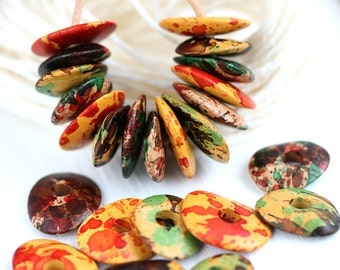 Bright Beads mix - Indian Summer - Red, Yellow, Brown, greek Ceramic Cornflake beads, for leather cord, washer, 16mm - 12pc - 1247
