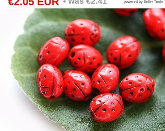 ON SALE Red ladybug czech beads, small Glass beads - opaque, black dots, spring - 7x5mm - 20Pc - 0256