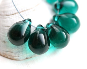 Dark Teal Teardrops, Large czech glass drops, Briolettes, teal green raindrop - 10x14mm - 6Pc - 0304