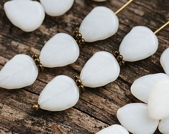 Alabaster White leaf beads, white leaves, Czech glass pressed glass leaf - 11x9mm - 25Pc - 2908