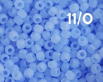 Matte Blue Toho Seed beads, size 11/0, Ceylon Frosted Glacier, N 146F, japanese glass beads - 10g - S203