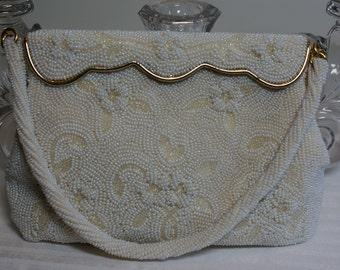 Vintage Ivory Beaded Handbag