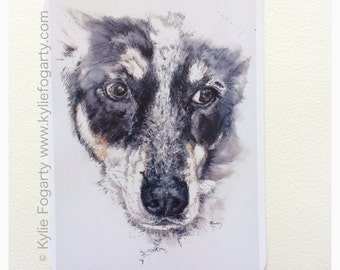 Matted Fine Art Print - Lilly Dog - Fine Art Print from Original Painting by Kylie Fogarty
