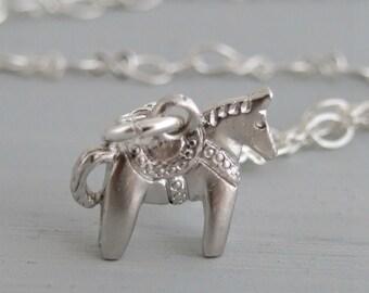Dala Horse Necklace .. horse necklace, silver necklace, Swedish horse necklace