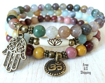 Yoga set of 3, Mookite, amazonite, Fancy Jasper, mala bracelet, mala set, Namaste bracelet,om bracelet, Lotus Bracelet. Hamsa bracelet, set