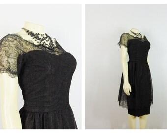 Vintage Dress 50s  Black Chantilly Lace Cocktail Dress Metal Zipper Mad Men Era Little Black Dress LBD Modern Size Small to Medium