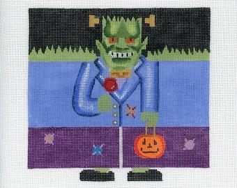 Needlepoint Handpainted Canvas Halloween - Frankenstein Roll Up