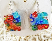 Millefiori Glass Square Earrings with Red and Blue Accents