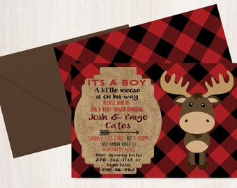 Woodland Baby Moose Invites - Baby Shower Invitations - Baby Shower - Lumberjack Baby Invites - Black and Red Baby Invitations - Moose Baby