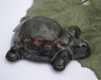 Green Glass Turtle Paperweight