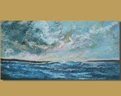FREE SHIP stormy ocean painting, panoramic painting, small painting, storm clouds, blue gray, seascape, landscape, canvas art 12x24