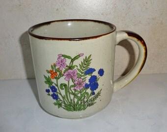Vintage Stoneware Ceramic Mug Cup Floral Pink Blue Otagiri Style