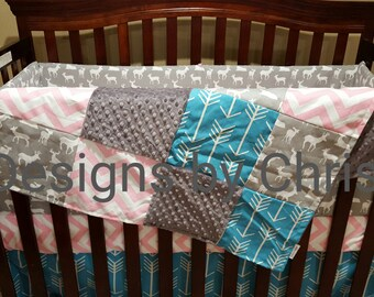 Girl Baby Crib Bedding - Gray Deer, Apache Blue Arrow, Baby Pink Chevron, and Gray Crib Bedding Ensemble