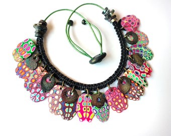 Polymer Clay Necklace: Crazy Leaves Green Pink