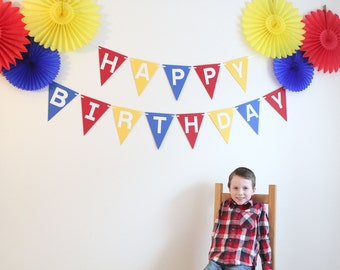 Party Decoration Kit- Happy Birthday Banner and Paper Fans, birthday decor, party, first birthday, red, yellow, blue