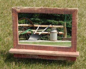 """Barnwood Framed Mirror -  26""""w  x 19""""h  (overall size)"""