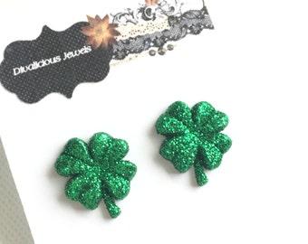 Shamrock Stud Earrings, St. Patrick's Day Earrings, Green Sparkle Clover, Four Leaf Clover, Jewelry, Kawaii
