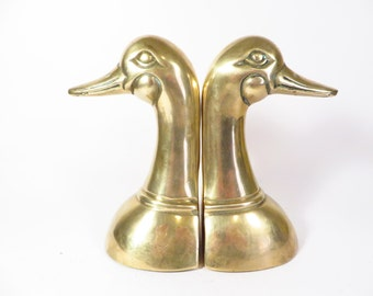 Brass Duck Head Bookends - Vintage Brass Bookends