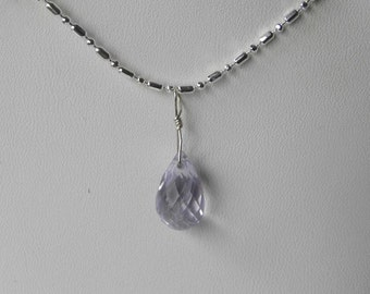 "Amethyst Pendant Amethyst Necklace Fine Handmade Semiprecious Gemstone 12mm Briolette 26"" Silver Chain Take 20% Off Purple Amethyst Jewelry"