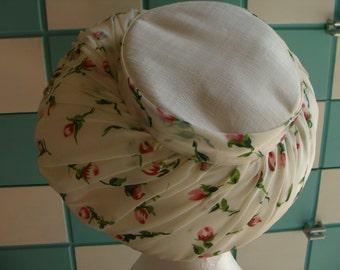 CHIFFON OVERLAY HAT vintage large brim floral