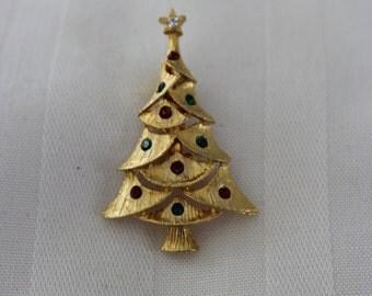 Gold Tone Christmas Tree Broach with Rhinestones