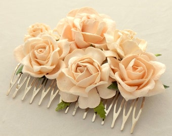 Buttermilk cream Floral Haircomb Flower Fascinator Vintage Wedding Party Bridal Accessory Bridesmaid statement
