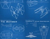 Star Wars Galactice Empire Blueprints Art Prints set