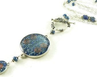 Orgone Energy Necklace - Nia Necklace - Celebrity Jewelry - Custom Necklace - Lapis Lazuli Gemstone - Sterling Silver - Long Necklace - BOHO